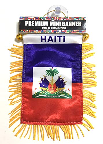 Haiti Haitian Flags for car Interior Rearview Mirror or Home Sticks to Windows Glass Quick and Easy Quality Small Hanging Mini Banner Flags car Accessories (1flag)