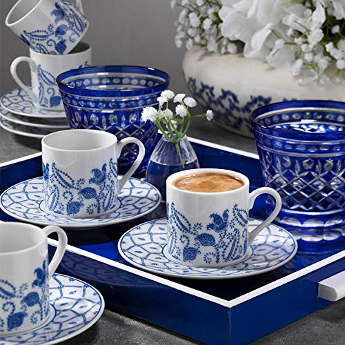 Latte Set for Coffee Espresso Turkish Coffee Cup /& Saucer Set 6 Coffee Cup /& 6 Saucers 12 Piece Traditional Design RU12KT4309740 White Dark Blue LaModaHome 710KTP9566 Coffee