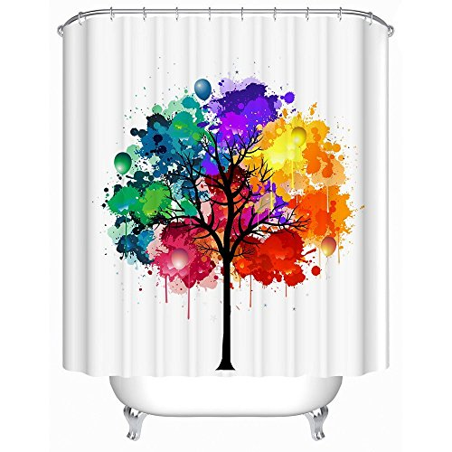"""Unique Colorful Watercolor Tree of Life Bathroom Shower Curtains- White Background Waterproof and Mildewproof Custom Shower Curtains for Kids 70.8""""W x 72""""H"""
