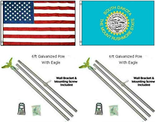 ALBATROS 3 ft x 5 ft USA American with State of South Dakota Flag Galvanized Pole Kit Top for Home and Parades, Official Party, All Weather Indoors Outdoors]()