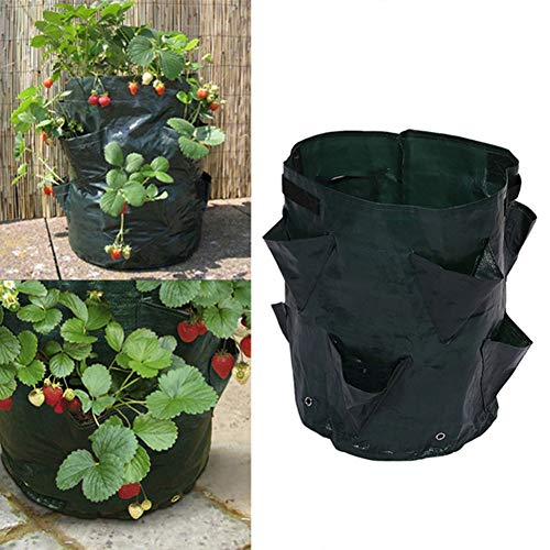 Smallwoodicute Ceramic/Plastic Plant Flower Pot,Plant Potato Strawberry Growing Bag Outdoor Vertical Garden Hanging Container - Blackish Green