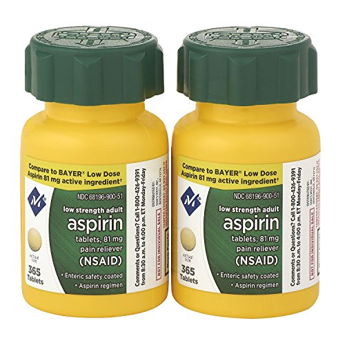 Baby Aspirin (Sam's West Member's Mark Low Strength Adults Enteric Safety Coated Aspirin Regimen Tablets Pain Reliever NSAID, 81 mg, 2 Bottles, 730 Tablets)