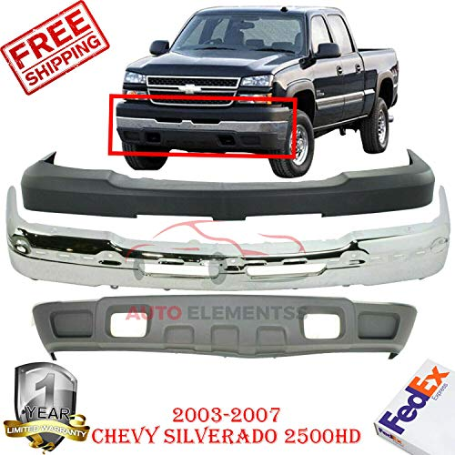 New Front Bumper Cover Chrome Steel Kit Fits 2003-2007 Chevy Silverado 2500HD 3500 Lower Valance Air Deflector Textured With License Plate Holes Direct Replacement GM1002416 GM1051109 GM1092205