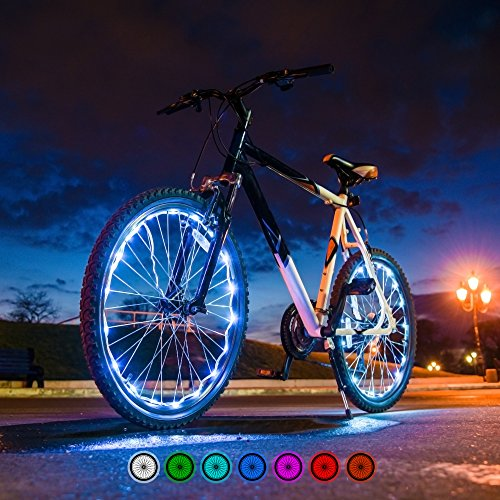 Bright Spokes Premium LED Bike Wheel Lights | 7 Colors in 1 | USB Rechargeable Battery | Strong Silicone Tube Cover | 18 Modes | Best Gift for all ages | 5, 6, 7, 8, 9 + year old boy gifts (1 Tire) by Gear Nation (Image #8)