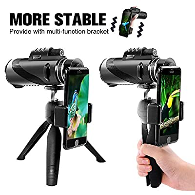 Monocular Telescope 12x50 High Power Waterproof Monocular Scope with Phone Mount & Tripod Monocular Compact Fogproof Shockproof Scope BAK4 Prism FMC Monoculars for Adults Hunting Camping