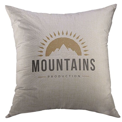 Mugod Pillow Cases Mountain Design Vintage Style for Logotype Label Badge Emblem Hills Symbol Icon Retro Rock Climber Throw Pillow Cover for Men Women Boys Cushion Cover 20x20 Inch