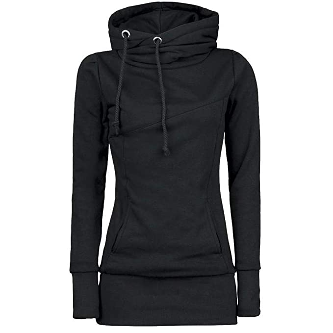 8505ae873d62 Kimodo Kapuzenpullover Damen Langarm Frauen Hohem Kragen Feste Hoodie  Sweatshirt Pullover Bluse Tops Mantel  Amazon.de  Bekleidung