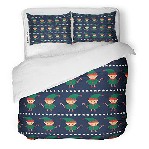 Emvency Decor Duvet Cover Set King Size Christmas Elf with Candy Cane and Xmas Stars on Dark Blue Cute Winter Holidays 3 Piece Brushed Microfiber Fabric Print Bedding Set Cover ()