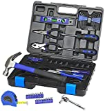 Tool Kit. Best Portable Big Basic Starter Professional Household DIY Hand Mixed Repair Set W/Plastic Storage Case For Home, Garage, Office For Men, Women. (65 Piece)