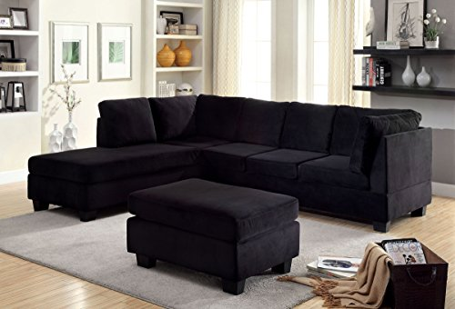 Aachen Sectional Sofa Set in Black Flannelette Fabric