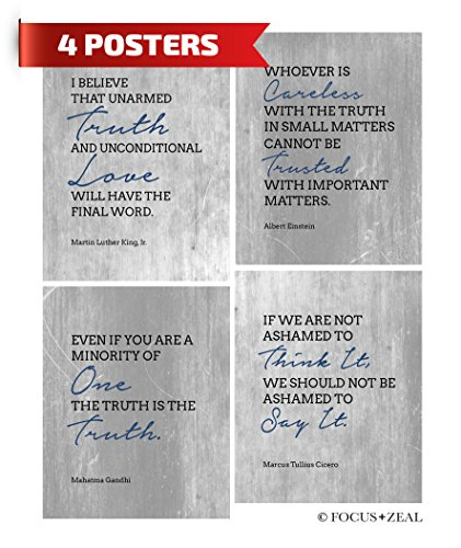 Motivational Quote Inspirational Truth by Einstein, Martin Luther King Jr, Gandhi, Cicero. Truth Will Have The Final Word Beautiful Digital Poster Print 8x10 Inch Set of 4 Unframed Truth