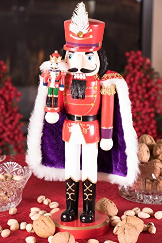 Clever Creations Red Prince Wooden Nutcracker Wearing Purple Cape Holding Toy Nutcracker Gift | Festive Decor | Perfect for Shelves and Tables | 100% Wood | 14'' Tall by Clever Creations (Image #4)'