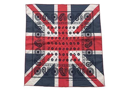 20 x 20 Inch Men & Women Blue/Red/White Square England Flag Bandana Headband Wristband Scarf Rock Biker Jean Accessory (UK Union Jack)