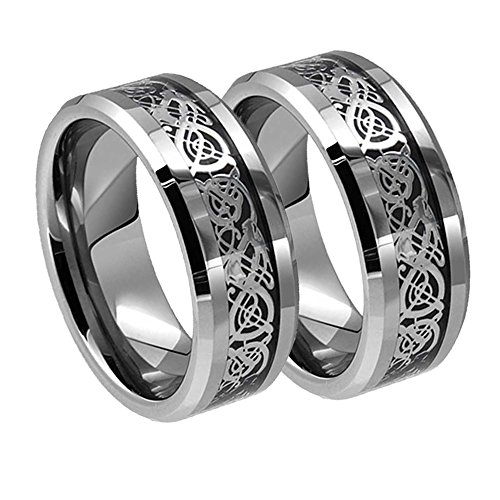 His & His 8MM Tungsten Carbide Beveled Celtic Knot Dragon Over Black Carbon Fiber Inlay Wedding Band Ring Set