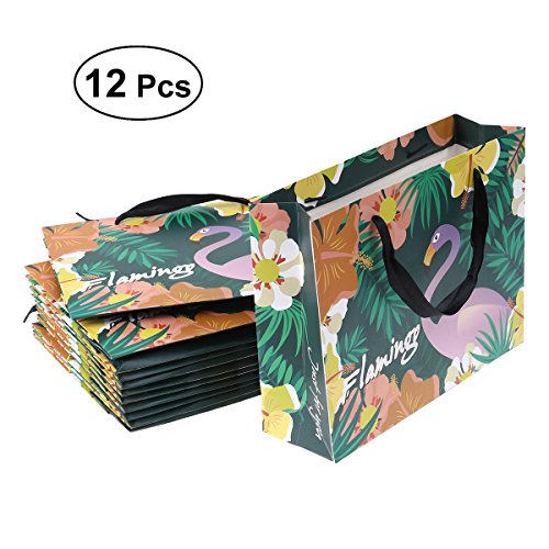 LUOEM Hawaii Luau Flamingo Party Supplies Bags Party Favor Bags with Handle for Party Birthday Graduation Wedding Shopping 12 Pack (Small)