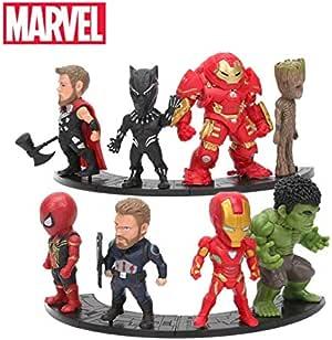Microplush Lote de 8 Figuras de los Vengadores Avengers Endgame Thanos Marvel Ironman Spiderman Hulk Pantera Negra Groot tamaño de 8-10 cm de PVC acción Modelo Juguetes Coleccionable: Amazon.es: Juguetes y juegos