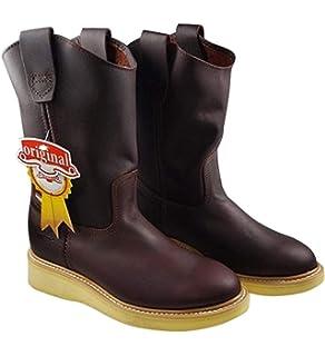 ESTABLO Mens Work Boots Genuine Leather Shedron Color Western Cowboy Pull On