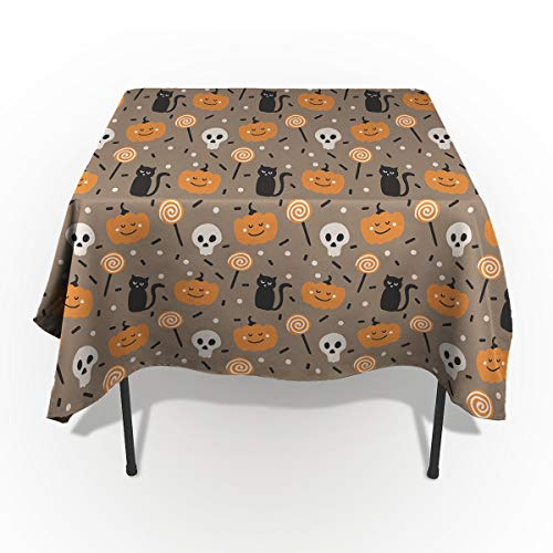 54 x 79 Inch Rectangle Tablecloth - Halloween Black Cat Pumkin Skull and Candy Rectangular Polyester Table Cloth Table Covers Linen Decor - Great for Kitchen Table, Parties, Holiday Dinner, Wedding