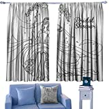 Bridal Shower Decor Curtains Sketchy Black and White Hand Drawn Bride with Floral Swirls Swing Image,Drapes for Baby Iving Room,W42 x L45 Inch