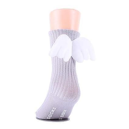 9aa082eb337 Buy 1 Pair Winter Baby Girls Boys Angel Wings Ruffles Soft Knee High Leg  Warmer Socks Toddler Cotton Socks Stockings for 0-2 Years Old Kids (Grey)  Online at ...