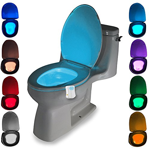 r Toilet LED Night Light, Home Toilet / Bathroom Motion Activated Toilet Nightlight Toilet Seat Light with 8 Changing Colors (Novelty Toilet Seats)