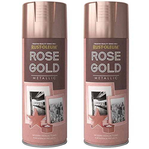 2 x Rust-Oleum 400ml Metallic Finish Spray Paint Rose Gold