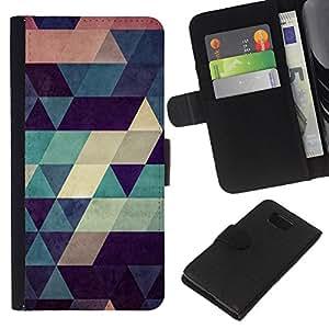 KLONGSHOP // Tirón de la caja Cartera de cuero con ranuras para tarjetas - Polígono de modelo del art trullo Beige Rojo Azul - Samsung ALPHA G850 //
