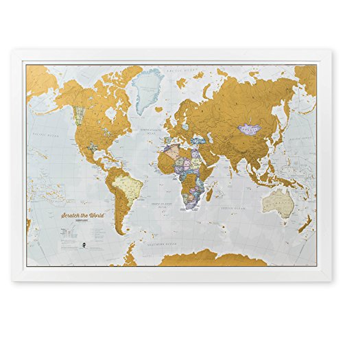 scratch the world scratch off your map of the world travel poster detailed cartography large size 33 x 23 inches