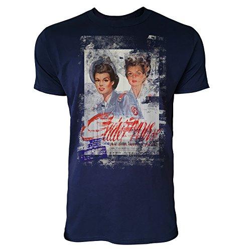 SINUS ART® Twins Herren T-Shirts stilvolles dunkelblaues Navy Fun Shirt mit tollen Aufdruck