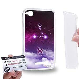 Case88 [HTC Desire 320] Gel TPU Carcasa/Funda & Tarjeta de garantía - Art Universe Purple Pisces 12 Zodiacal Art1713