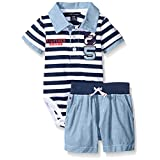 Tommy Hilfiger Baby Boys' Stripe Jersey Bodysuit and Woven Chambray Shorts, Blue, 12 Months