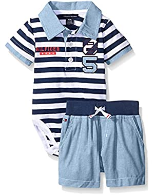 Tommy Hilfiger Baby Boys' Stripe Jersey Bodysuit and Woven Chambray Shorts