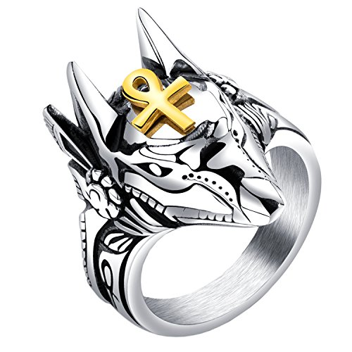 HIJONES Men's Stainless Steel Ancient Egypt God Anubis Gold Ankh Cross Amulet Ring Size 11