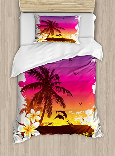 Ambesonne Luau Duvet Cover Set, Tropical Retro Sunset Palm Trees Jumping Dolphins on The Beach Scenery Illustration, Decorative 2 Piece Bedding Set with 1 Pillow Sham, Twin Size, Yellow Magenta (Dolphin Twin Bed Set)