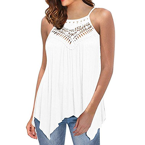 Women Women Casual Loose Off Shoulder Lace Irregular Blouse T Shirts Tank Tops (XL, White)