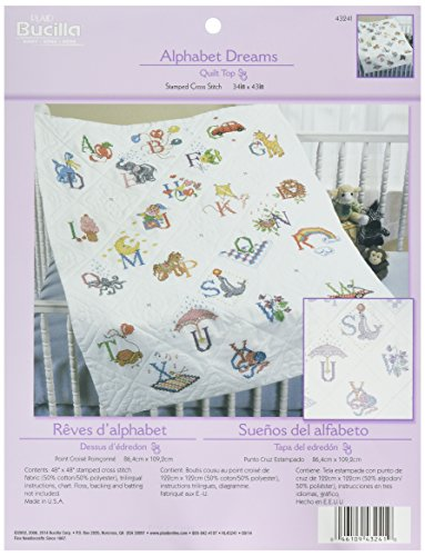 Bucilla Stamped Cross Stitch Baby Quilt Top, 34 by 43-Inch, 43241 Alphabet - Stitch Cross Dreams