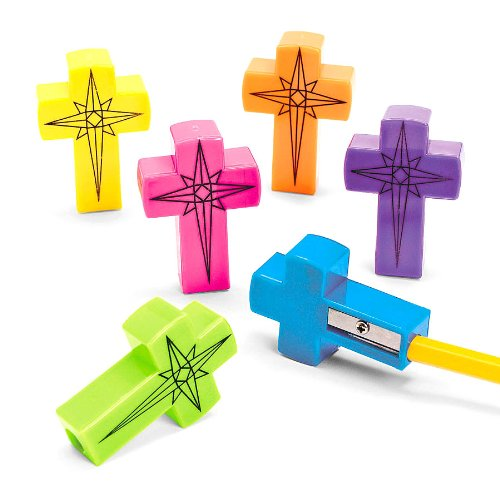 Fun Express - Cross Pencil Sharpeners - Stationery - Pencil Accessories - Sharpeners - 24 Pieces