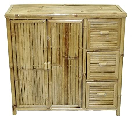 Amazon.com: Bamboo Storage Console Cabinet with Doors and Drawers ...