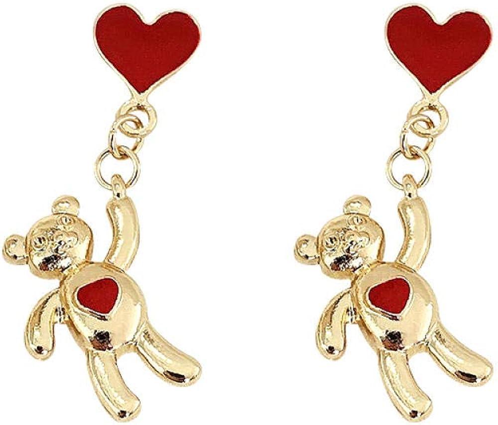 Pendientes femeninos S925 aguja de plata lindos pendientes de oso rojo amor modelos de moda joyería de oreja de nicho simple