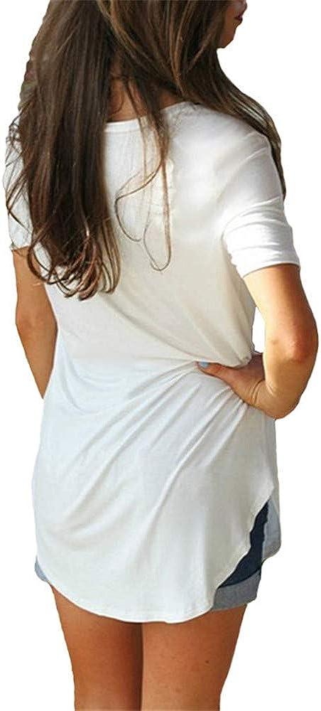 Camiseta de manga corta con cuello en V color liso Morton PegfwaS