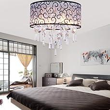 LightInTheBox Elegant Transparent Crystal Chandelier with 4 Lights, Drum Flush Mount Modern Ceiling Light Fixture for Bedroom, Living Room Bulb Not Included
