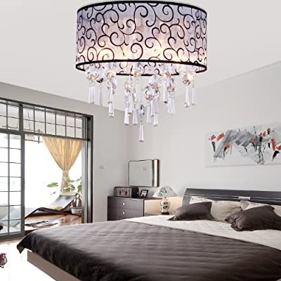 LightInTheBox Elegant Transparent Crystal Chandelier with 4 Lights, Drum Flush Mount Modern Ceiling Light Fixture for Bedroom, Living Room Bulb Not Included