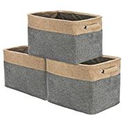 Sorbus Storage Large Basket Set [3-Pack] - 15 L x 10 W x 9 H - Big Rectangular Fabric Collapsible Organizer Bin with Carry Handles for Linens, Towels, Toys, Clothes, Kids Room, Nursery (Grey/Tan)