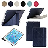BESDATA Origami Style Folding Cover for Apple 2013 iPad Air (5th Gen Full Size iPad) - DIY Transformers Multi Angle Stand Ultra Thin Magnetic Smart Cover & Back Case + Screen Protector + Cleaning Cloth + Stylus - Dark Blue, C01001-12