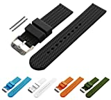 BARTON Watch Bands - Choice of Colors & Widths (18mm, 20mm, 22mm or 24mm) - Black 20mm - Soft Silicone rubber