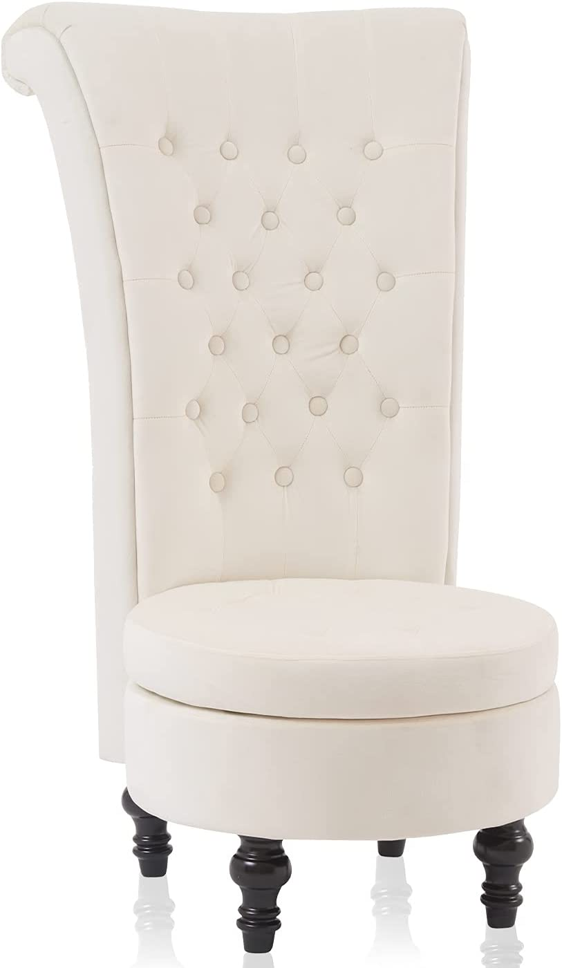 Living Room Chair Velvet High Back Accent Bedroom Chair Tufted Royal Throne Retro Armless Lounge Chair Upholstered Chairs w/Storage for Women Girls (Beige)