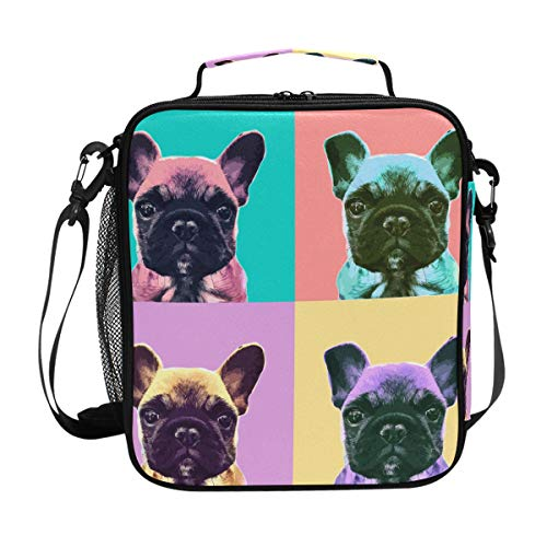 Brighter Cute French Bulldog Warm Pouch Lunch Bags Lunchbox Meal Picnic Handbags Travel Food Gourmet Bento Container Tote for Office School Work - Pouch Bull Mens