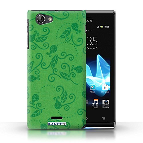Etui / Coque pour Sony Xperia J (ST26i) / Vert conception / Collection de Motif Coccinelle