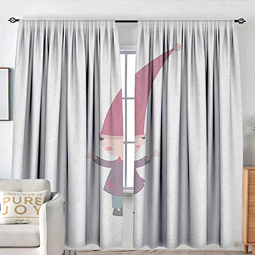Petpany Bedroom Blackout Curtain Panels Kids,Little Cartoon Gnome Character Illustration with a Big Pink Hat Standing Under Rain, Multicolor,All Season Thermal Insulated Solid Room Drapes 120