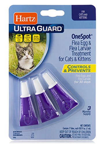 Hartz UltraGuard Onespot Flea & Tick Drops for Cats - 3 Monthly Treatments